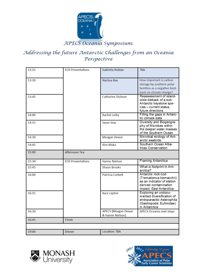 APECS Oceania Symposium Schedule Afternoon