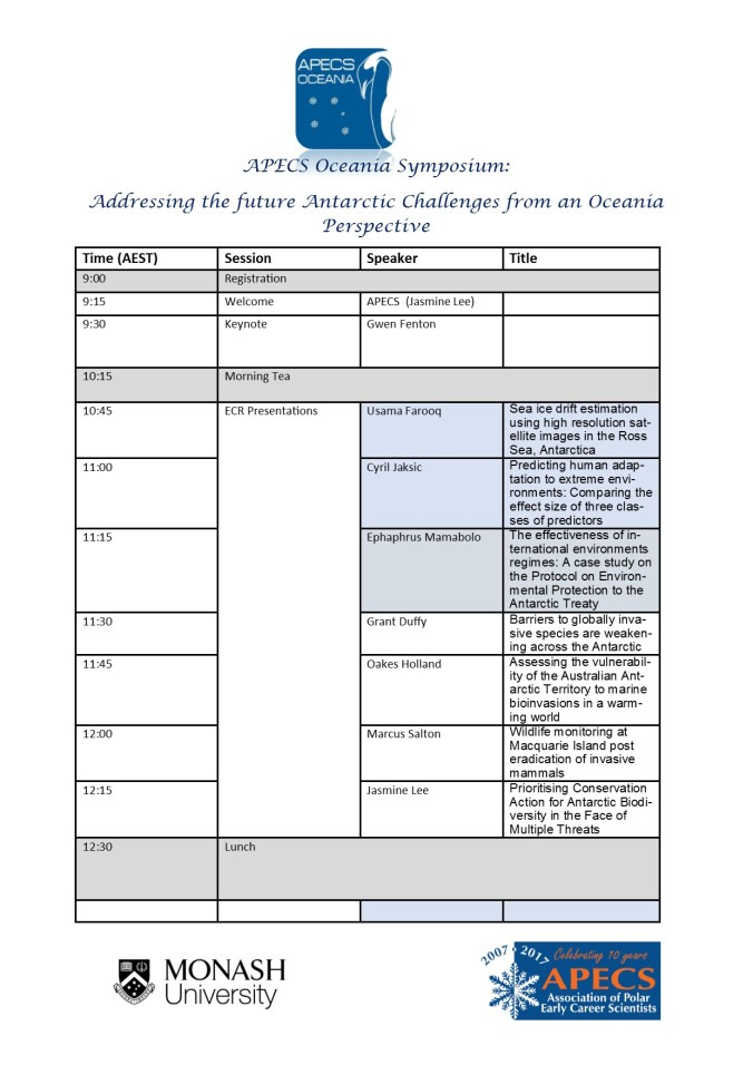 APECS Oceania Symposium Schedule Morning